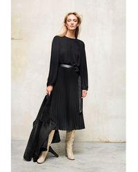 Luisa Cerano Midi Plisse Dress - Black