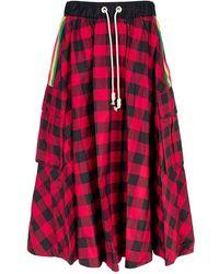 Palm Angels Buffalo Check Skirt - Red