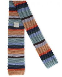 Paul Smith Knitted Stripe Tie - Green