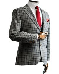 Gibson London Cheyne Gray With Navy & Check Suit Jacket - Brown