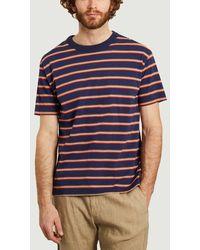 Loreak Mendian Striped T-shirt Dark Ink - Blue