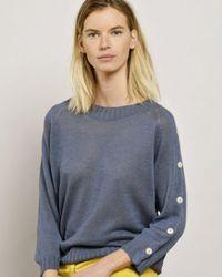Mat De Misaine Tonie Linen Knitted Top - Blue