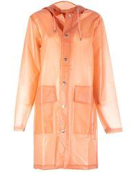 Rains Hooded Coat Coral - Orange