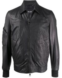 Neil Barrett Zipped Leather Jacket - Black