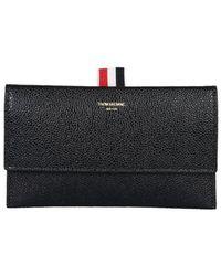 Thom Browne Wallet With Flap - Black