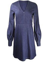 Sportmax Puff Sleeve Denim Mini Dress - Blue