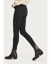 Maison Scotch Haut High-rise Skinny Fit Jeans In Elegant Black