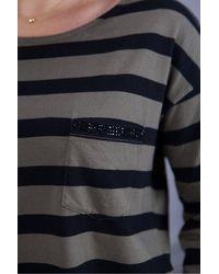 MARC AUREL Long Sleeve Stripe Tee In Khaki - Blue