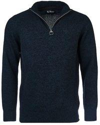 Barbour Essential Lambswool Half Zip Sweater , Colour:navy - Blue