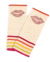 Adeela Salehjee Berlin Oatmeal Cashmere Fingerless Glove , Style:lip - Red