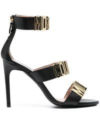 Moschino Women's Ma1607ac1cmf0000 Black Leather Sandals