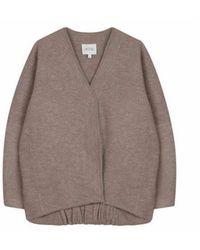 House of Dagmar Bea Long Jacket - Camel - Grey