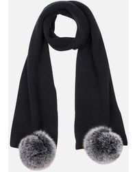 Max & Moi Ribbed Knit Scarf With Pompoms - Black