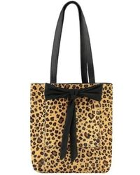 Brix + Bailey Leopard Print Small Bow Front Hair On Hide Leather Tote - Multicolour