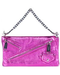 DSquared² Clutch Babe Wire Laminated Leather Bag - Pink