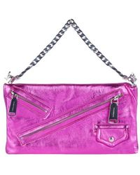 DSquared² Clutch Babe Wire Laminated Leather Bag - Purple