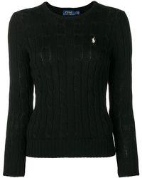 Ralph Lauren - Women's 211580009046 Black Cotton Sweater - Lyst