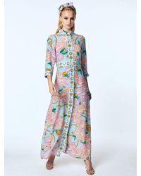 Hayley Menzies Luna Flora Long Shirt Dress Blue