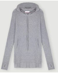 Cocoa Cashmere Essential Ribbed Hoodie Jumper - Grey