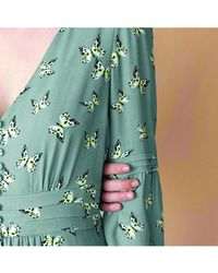 INTROPIA Butterfly Print Dress - Metallic