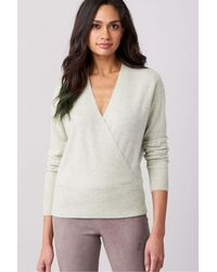 Repeat Cashmere Cashmere Cross Front Knit - Grey