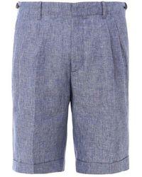 Z Zegna Linen Bermuda Shorts - Blue