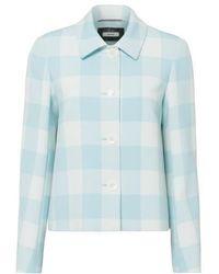 Riani Aqua And White Check Jacket 301260-3618 - Blue