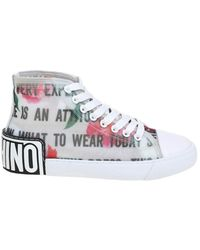 Moschino Sneakers Slogan & Flowers - White
