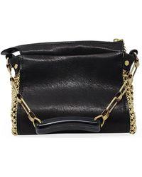 Laura B Bauletto /gold Leather Handbag - Black