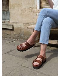 Grenson Flora Tan Leather Sandals - Brown