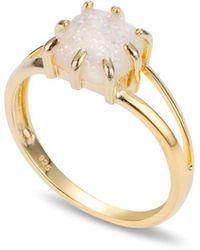 Coco & Kinney Druzy Antonia Ring In Gold - White