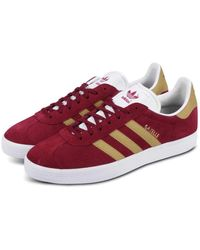 adidas Gazelle Burgundy & Gold - Red