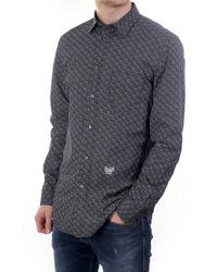 DIESEL Dunes Circle And Dot Print Ls Shirt - Black
