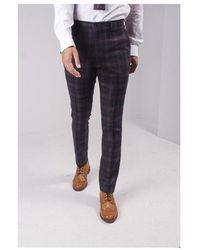 Guide London Check Pattern Pants Colour: Navy - Blue