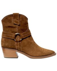 Via Roma 15 Brown Suede Leather Cowboy Booties