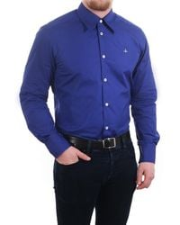 Vivienne Westwood Vivienne Westwood Mens Regular Fit Cotton Poplin 1 Button Shirt - Blue