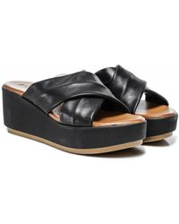 Inuovo Leather Crossover Wedge Sliders Colour: Black