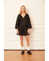 ALIGNE Carrie High Waist Casual Linen Short In , - Black