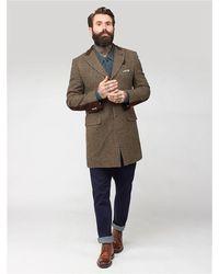Gibson London Vinnie Shetland Check Crombie Overcoat - Brown