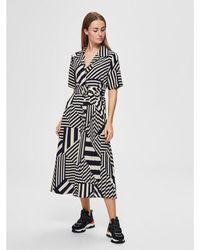 SELECTED Bold Pattern Belted Shirt Dress - Black