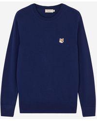 Maison Kitsuné Merino Round Neck Pullover Tricolor Fox Patch - Navy - Blue
