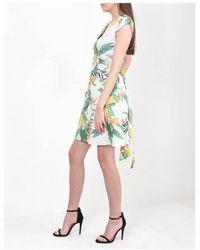 Dex Tropical Print Button Dress - White