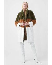 French Connection Colour Izo Faux Fur Coat - Multicolour