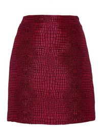 ANDAMANE Fuschia Croco Mini Skirt - Pink