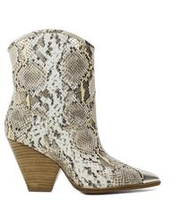 Lola Cruz Gambels Natural Leather Cow Boy Boots - Multicolour