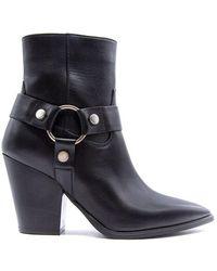 Janet & Janet 7cm Heel Texan Boots - Black