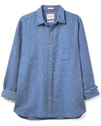 White Stuff Mens Ainsdale Cotton Linen Shirt - Blue
