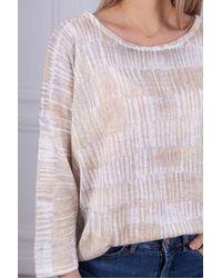 Kinross Cashmere Pattern Line Jumper - Pink
