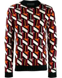 Prada Men's Uma967s1921uqbf0041 Multicolor Wool Sweater - Red