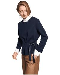 Riani Faux Leather Patch Pocket Knit - Blue
